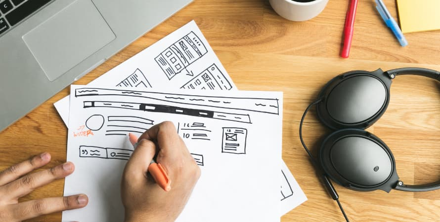 Creating wireframes for a website